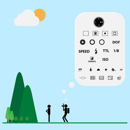 Camera shot iconen denken in een schot Stock Illustratie