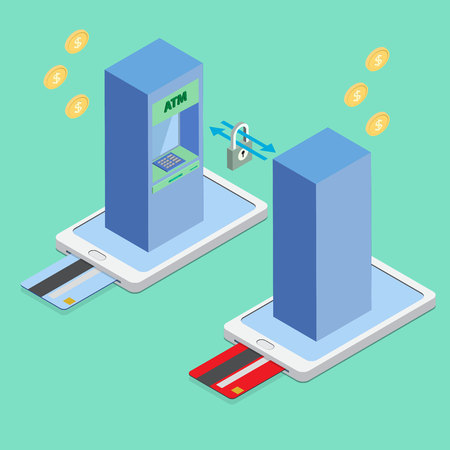 Cash online or internet banking concepts. Automatic Teller Machine on smart phone isometric view