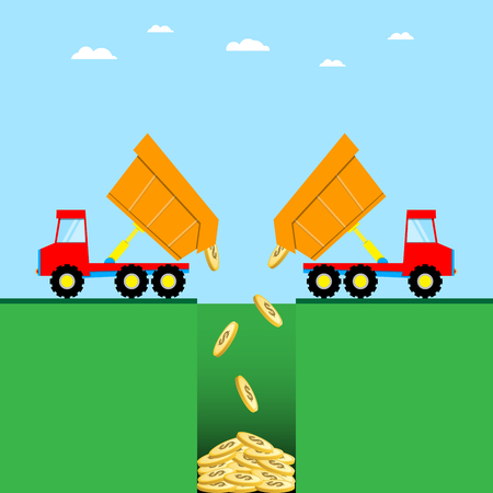 heavy: Truck dump dollar money coin in a blank hole Illustration