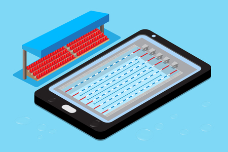 Swimming pool with stadium stand on mobile phone