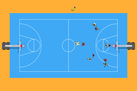 Top view of basketball match in stadium