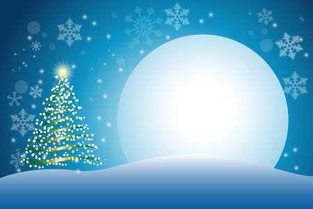 Christmas tree with full moon background for greeting card