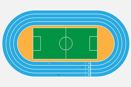 Top view of soccer or football stadium with Running Tracks Illustration