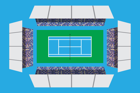 Tennis court with full attendance in top view Ilustracja