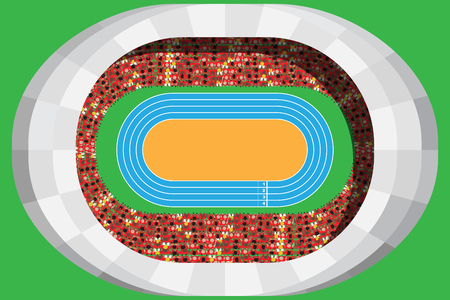 Athletics stadium with full attendance in top view Illustration