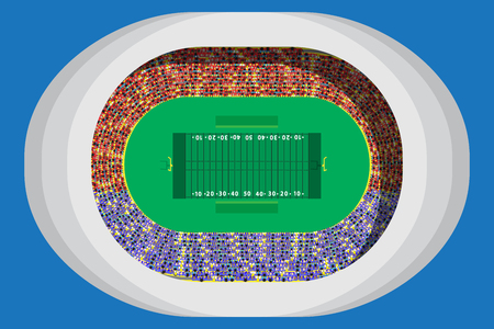 American footbal stadium with full attendance in top view