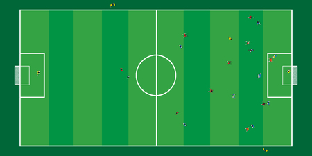 Football math play on stadium topview 일러스트