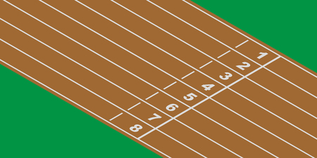 Empty running track at finish line Illustration