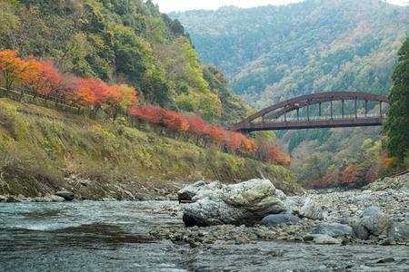 Hozugawa river boat ride route  in Japan autumn season