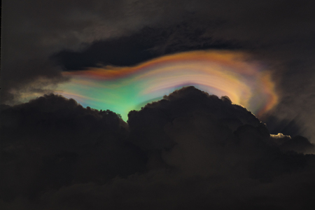 iridescent pileus or rainbow clouds in the sky Stock Photo