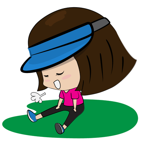 young girl sitting so tired work out cartoon vector