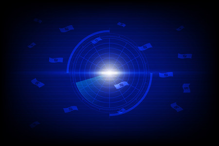 radar blue screen display scanning dollar banknote symbol