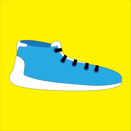 illustration of running shoe on yellow background Çizim