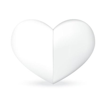 vector of fold white heart shape
