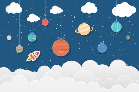 set of planets in Solar system hang on blue and star background : Mercury, Venus, Earth, Mars, Jupiter, Saturn, Uranus, Neptune, Pluto. Space illustrations 矢量图像