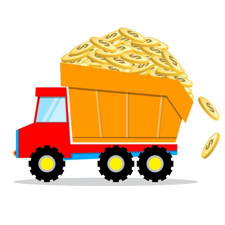 truck overload golden dollars coins on white background
