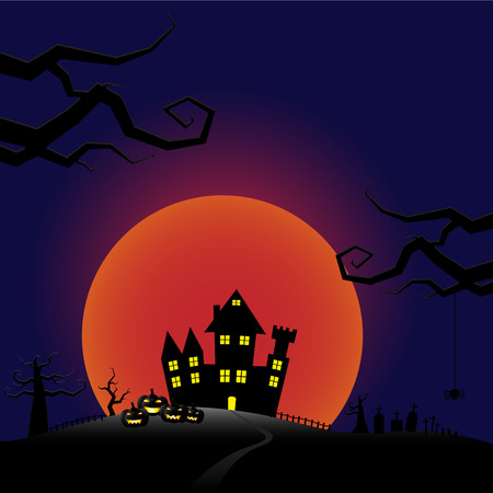 Halloween pumpkins and castle with bloody Moon background