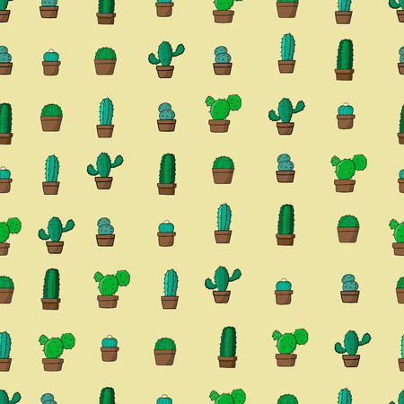 cactus hand drawing stlye seamless pattern