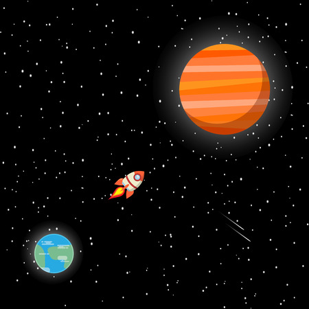 rocket travel out space to Mars