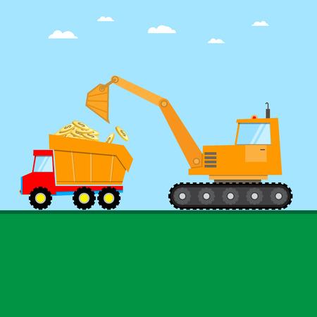 crawler loader and truck load golden dollars coins