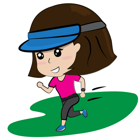 young girl running work out cartoon vector