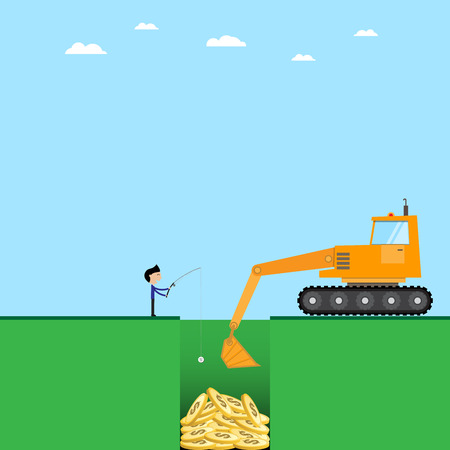 business man and crawler loader with golden coins
