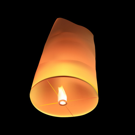 vector of floating lantern on black background Illustration