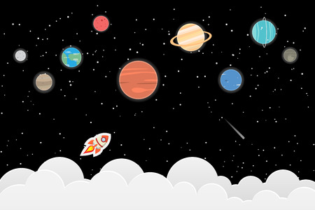 set of planets in Solar system and star background : Mercury, Venus, Earth, Mars, Jupiter, Saturn, Uranus, Neptune, Pluto. Space illustrations