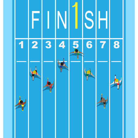 action of athletes at finishing line running tracks in top view
