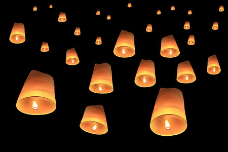 vector of floating lanterns on black background