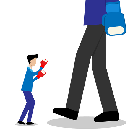 small businessman fighting fighting with bigger man