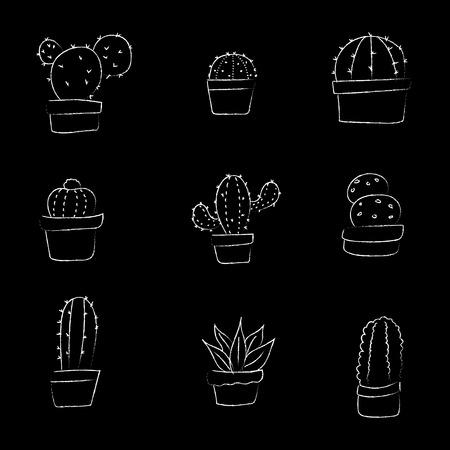 Set of hand drawing cactus  pot plant