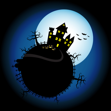 Halloween pumpkins and castle with blue Moon background 矢量图像