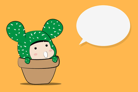 cute cactus character design with bubble speech on orange background