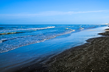 Black sand beach in Ladispoli, Italy
