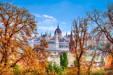 Autumn of Budapest, beautiful view of the Danube embankment and the Hungarian Parliament