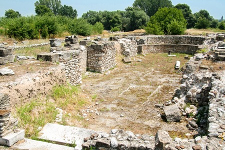 Ancient Greece city Dion. Ruins of ancient christian basilica in archaeological park of sacred city of Macedon.