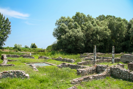 Ancient Greece city Dion. Ruins of House of Dionysos.. Archaeological park of sacred city of Macedon.