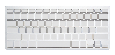 Blank silver computer keyboard, with empty 78 keys for your own idea, isolated on white background.