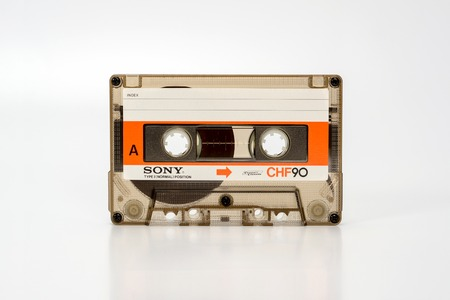 PRAGUE, CZECH REPUBLIC - NOVEMBER 29, 2018: Audio compact cassette SONY CHF 90. Audio cassette on a white background, front view without box. analog format for audio playing and recording.