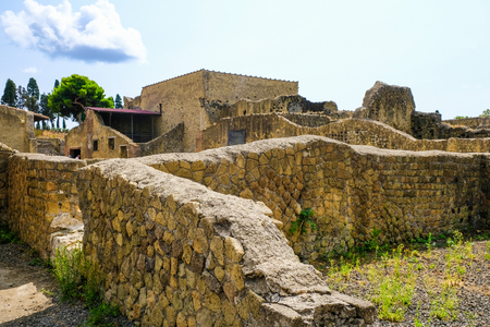 Herculaneum, ancient roman town: Walls of dying city. Archeological site, Ercolano Italy