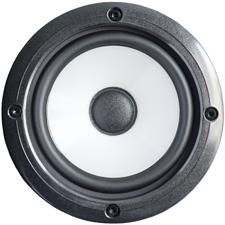 Bass professional loudspeaker with screws, close up isolated on white background.