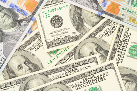 Some one hundred dollars background. High resolution photo of money macro. Foto de archivo