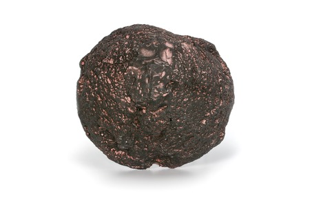 Volcanic bomb from the slopes of Vesuvius volcano. On white background, close-up.