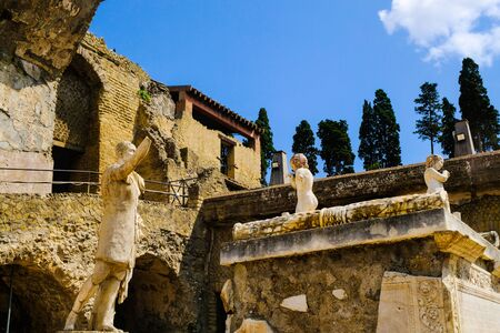 Herculaneum, ancient roman town: sanctuary on the main square of the city. Archeological site, Ercolano Italy