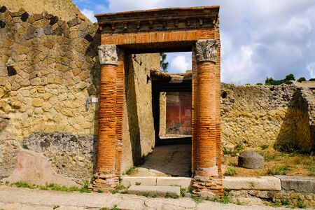 Herculaneum, ancient roman town: gate to the villa. Archeological site, Ercolano Italy