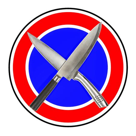 No domestic violence. Road prohibition sign: Crossed kitchen knives. Stop violence in family.