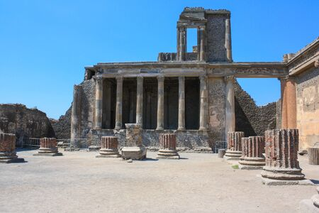 Pompeii, archeological site, ancient ruins of roman temple.