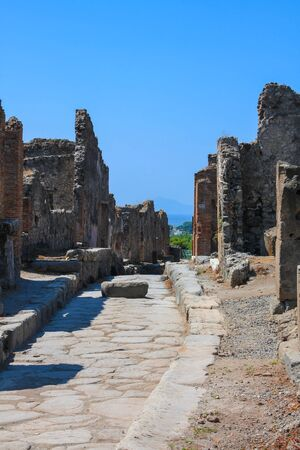 Pompeii, archeological site, Ancient ruins of died town, empty streett