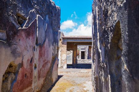 Pompeii, archeological site, Ancient ruins of died town, old walls 스톡 콘텐츠